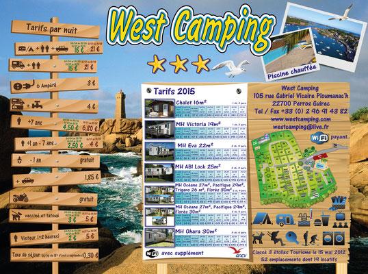 Panneau tarif West Camping