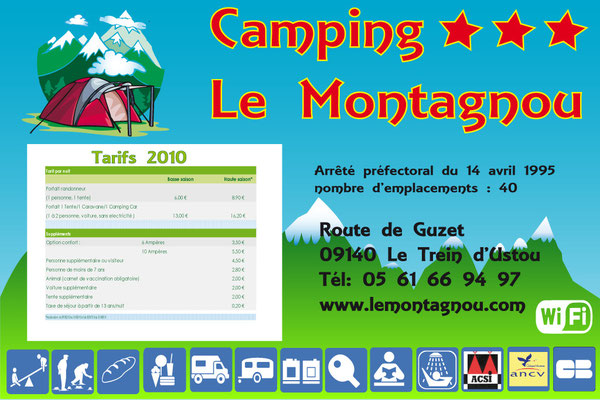 Panneau tarif Le Montagnau