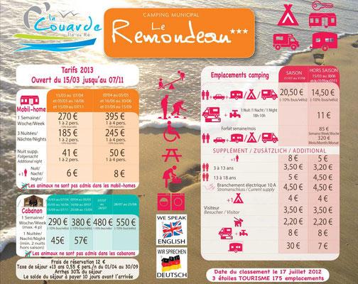 Panneau tarif Le Remondeau
