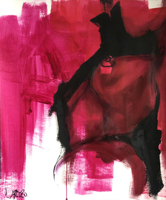 Red Lisa 9, oil and pastels on paper, 46x38 cm