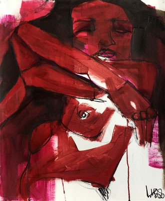 Red Lisa 13, oil and pastels on paper, 46x38 cm