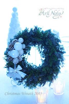 Christmas Wreath 2015 -グリーンの香りが温かいオールプリザーブドグリーンのクリスマスリースー