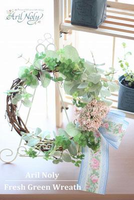 Fresh Green Wreath -ユーカリ×小花の爽やかなリースー