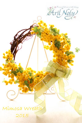 Mimosa Wreath 2015 -アーティフィシャルフラワーのミモザをたっぷりとあしらったリースー