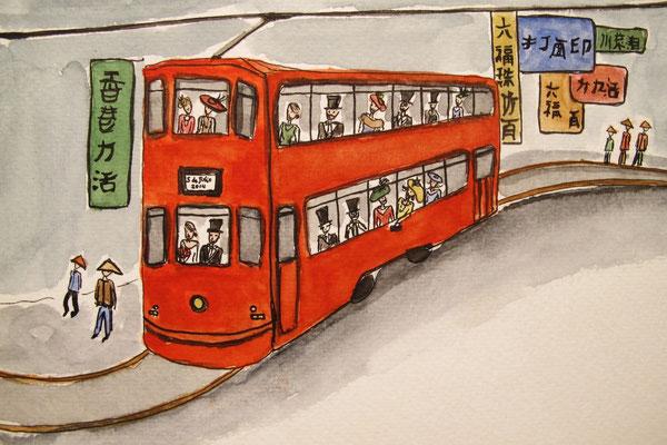 Tranvía de invitados en Hong Kong