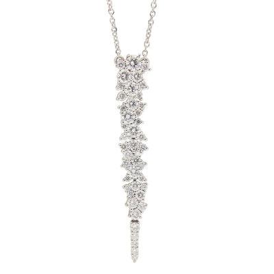 Anhänger mit Halskette in 750er Weissgold und Diamanten by Brusi