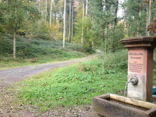 Der Weg führt vorbei am Eberhartsbrünnchen Richtung Mummenroth. (©odenwaldlust.de)