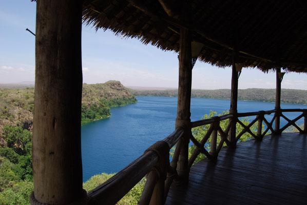 Blick von der Lake Chala Safari Lodge auf den Lake Chala
