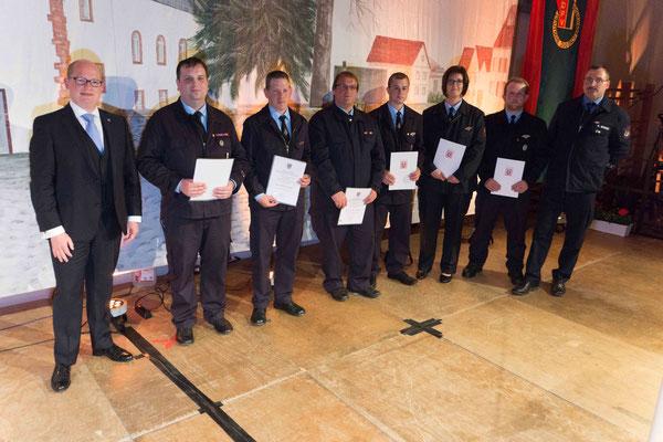Für treuen Einsatzdienst ausgezeichnete Mitglieder der Feuerwehr Södel