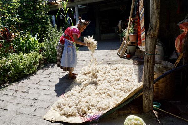 She dries wool