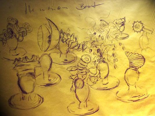 """""""Skizze zu """"Alle in einem Boot"""" - Visionen """" 70 x 55 x 45 cm ©"""