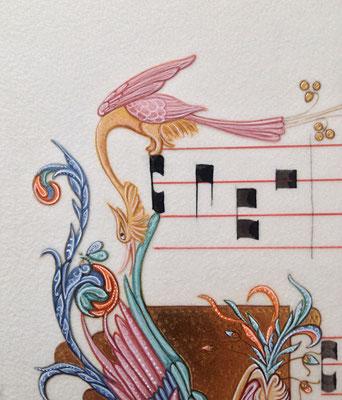 Enluminure oiseau, dansle style florentin du XIVe