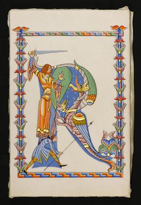 Enluminure traditionnelle d'après St-Georges terrassant les dragons, Moralia in Job, abbaye de Citeaux en 1111. Réalisation Martine Saussure-Young