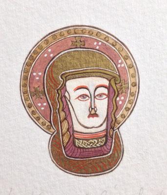 Vierge folio 1 du Livre de Kells, Or-et-Caracteres