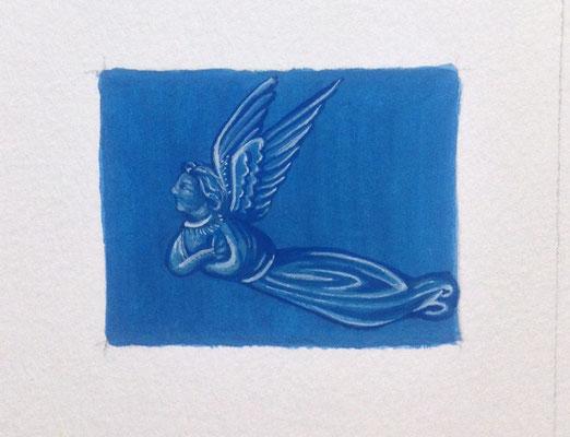 Petit ange bleu, inspiré du Duc de Berry, Or-et-Caracteres