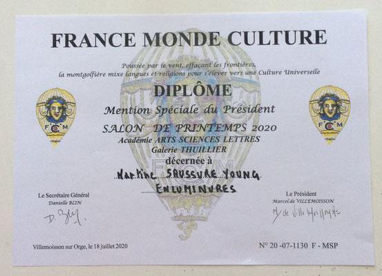 Prix spécial du Président France Monde Culture juillet 2020