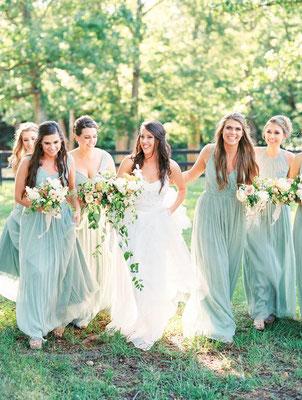 robe longue demoiselles d'honneur vert d'eau