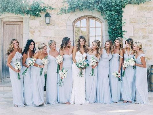 demoiselles d'honneur robes bleues