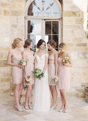 demoiselles d'honneur robe courte rose