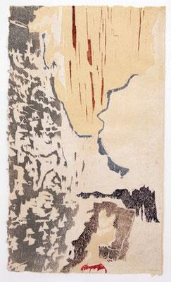 1 houtsnede, IJslandschap 101x60 cm. oplage 6