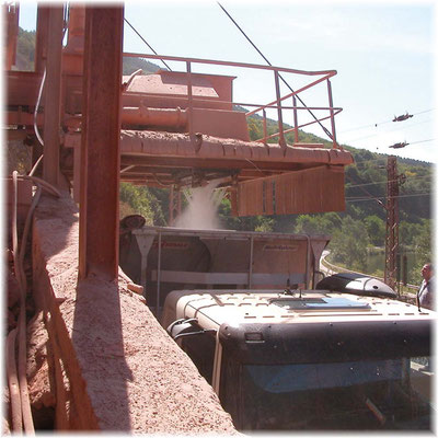 LKW-Beladung - Stationäre Staubbindung