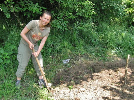 Freilegen der Fläche für die erste Schwitzhütte 2012