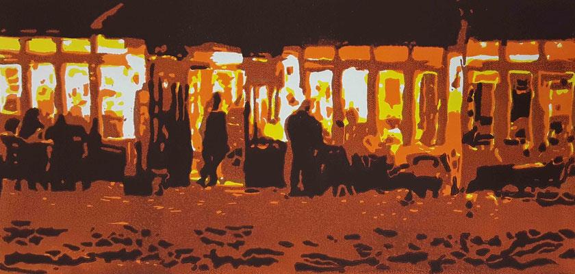2017 Afterwork, Var. I, 20 x 42 cm, Farbholzschnitt - Auflage 6