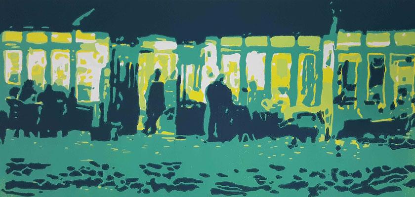 2017 Afterwork, Var. II, 20 x 42 cm, Farbholzschnitt - Auflage 6