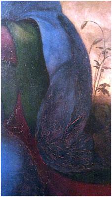 """Pittore Spagnolo, attr. Fernando Yáñez de la Almedina  o Fernando de los Llanos """"Madonna con il Bambino e l'agnellino"""", Olio su tavola, 60 x 52, 1502 -1505, Pinacoteca di Brera, Milano, Inv. 1162, dettaglio foto scattata dalla sottoscritta"""