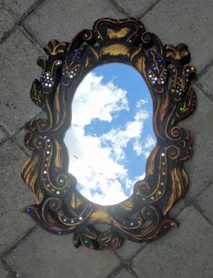 Espejo tailandés madera con cristal