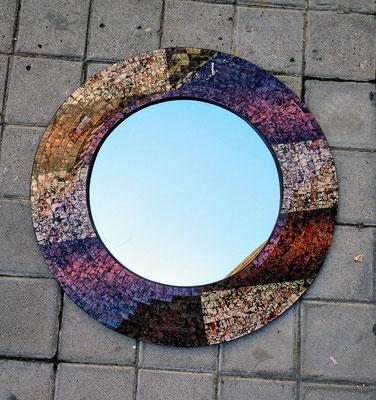 Espejo madera con mosaico cristal