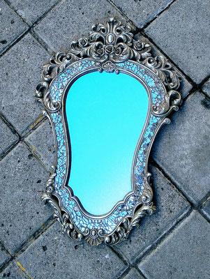 Espejo resina color plata con cristalitos