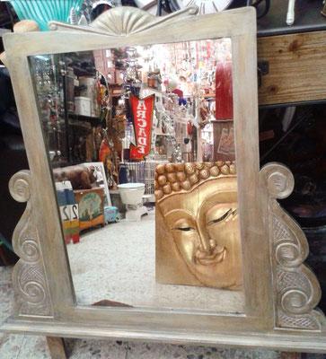 Espejo tocador madera color plata