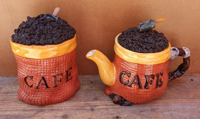 Cafetera y bote para café cerámica