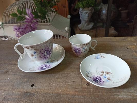 Juego 6 tazas con plato en 2 tamaños flores moradas