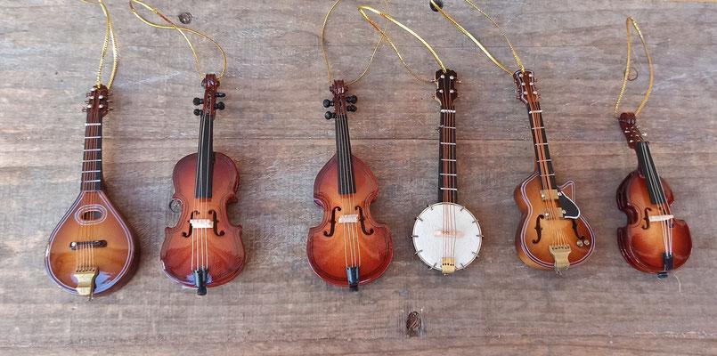 Adornos árbol navidad instrumentos de cuerda