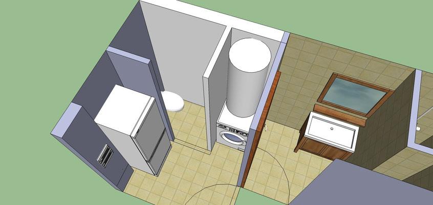 Albertus rénovation plan 3D de transformation d'une salle d'eau en buanderie