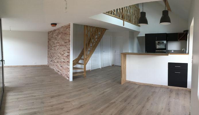 albertus rénovation escalier chêne massif et garde corps réalisé dans notre atelier cuisine