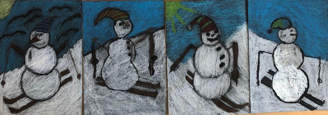 Auch Schneemänner können ausgezeichnet Ski fahren!