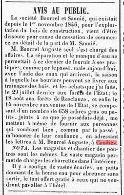 Bois Borel Saunié 1847