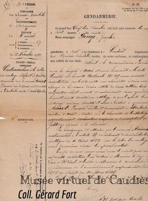 Contravention sur charrette 1879