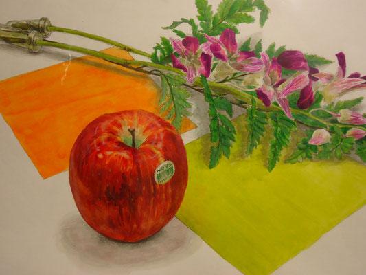 着彩「デンファレ、リンゴ、色紙」  2007