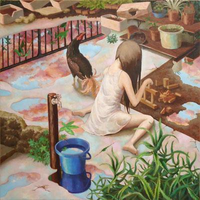 箱庭の中、蚊帳の外 2008 530×530(mm) 油彩