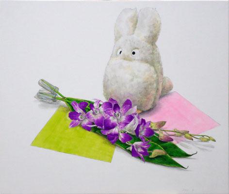 着彩「トトロ小のぬいぐるみ、デンファレ、色紙」    2011