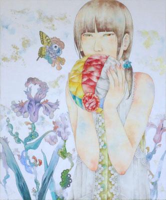 胡蝶は煉獄を揺蕩う 2017 455×380(mm) 水彩