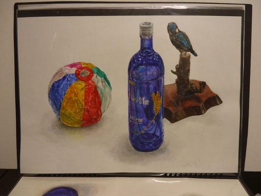 着彩「ガラス瓶、紙風船、鳥の剥製」 2007