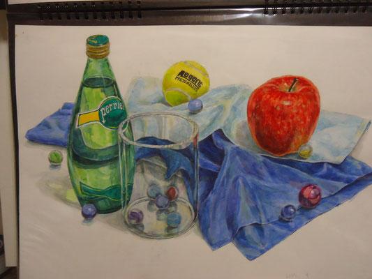 着彩「ペリエ瓶、リンゴ、テニスボール、アクリルポット、ビー玉、タオル、布」  2007