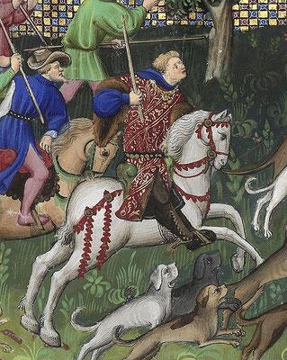 Fébus chassant le lièvre, miniature du Maître de Bedford, BnF