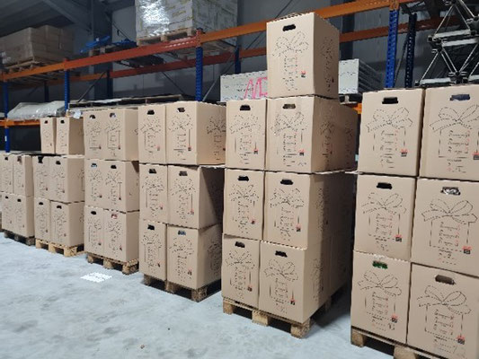 Die Umkartons wurden anschließend auf Paletten gestapelt und dann auf den LKW geladen, der sich nun auf den Weg nach Osteuropa macht.
