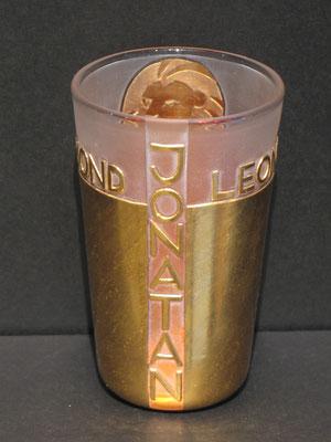 JONATAN, H13cm, ø8cm, handgemachter Taufbecher Hochschnitt vergoldet. ca 486€